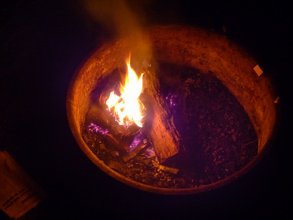 Fire tonight with wood from home -- the first outdoors since 2009.  Temperatures were in the mid 30's.
