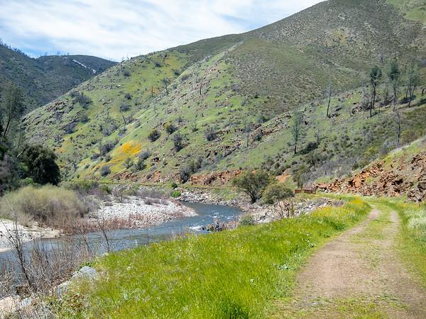 Onto Railroad Flat to show Karen the rebuilt Yosemite Valley Railroad trestle.