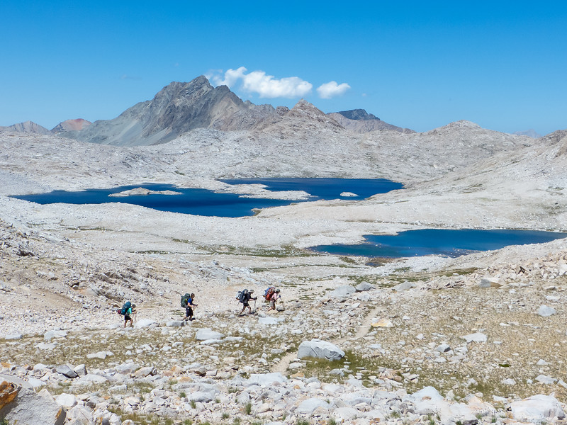 Looking north from near Muir Pass: Mt. McGee, Wanda Lake, Lake McDermond, and a group of intrepid JMT through-hikers.