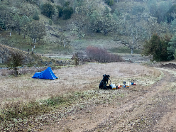 Tuesday, March 12.  Camp was near the confluence of Rock House Creek and the East Fork of Coyote Creek.  Frost!