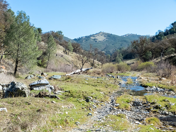 Heading up the East Fork of Coyote Creek.  The trail, an old ranch road, is in the high-water creek bed much of the way.