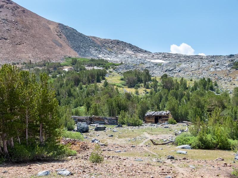 About 1/4 mile south of the pass are some old miner's cabins.
