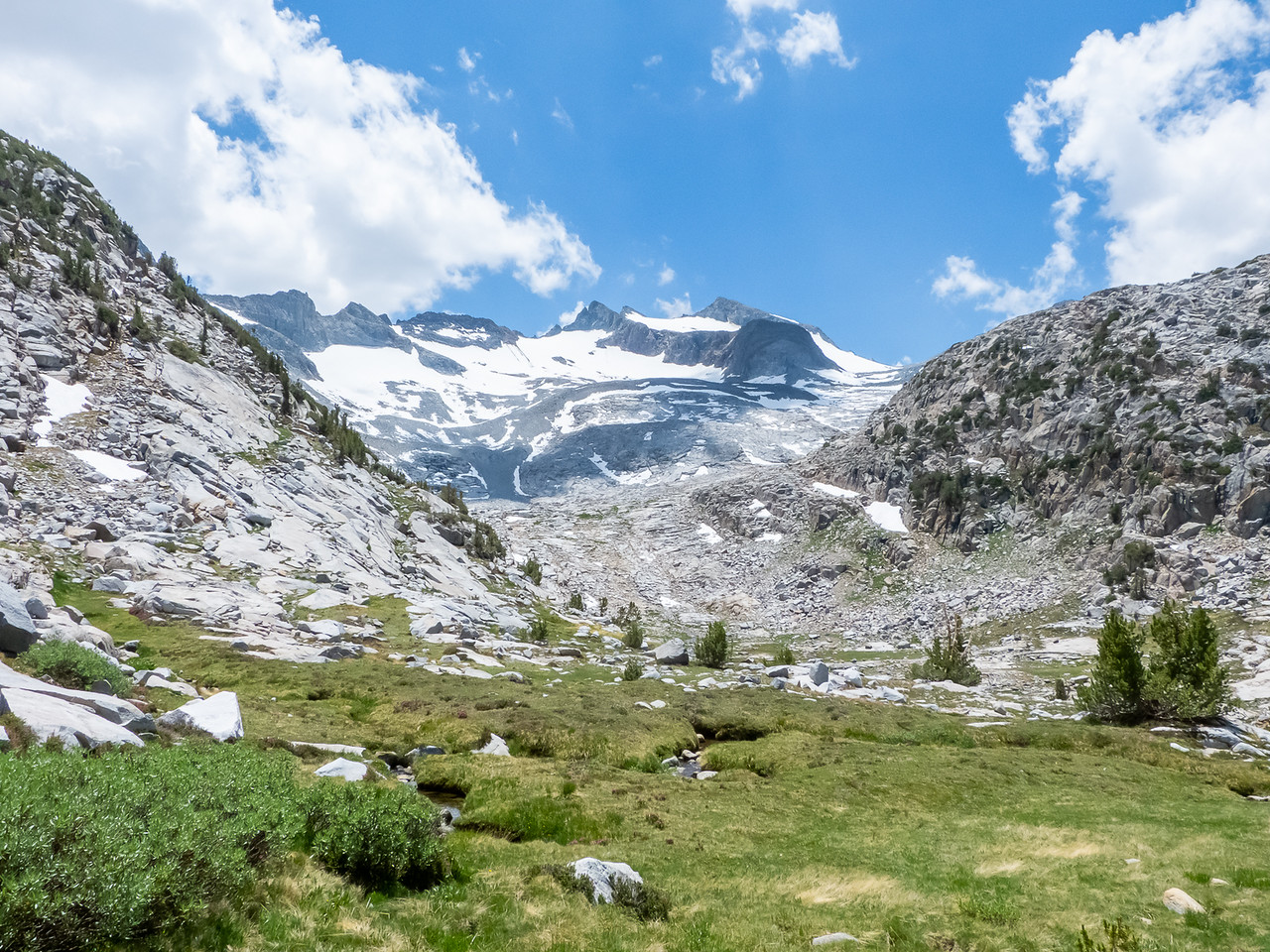 This grassy meadow is about 40 minutes below the pass.  Above: Mt. Lyell and what was the Lyell Glacier.  It's stopped moving, so it's now just the Lyell Ice Field.
