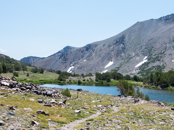 Mono Pass, as signed.  Summit Lake.  The maps show the actual pass beyond the lake.