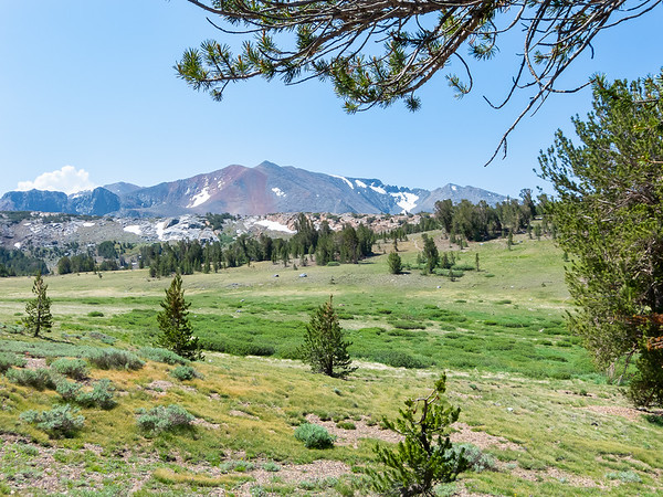 Mono Pass is to the left.  Parker Pass is by the red mountain.  At the left center is the Parker Pass Trail.