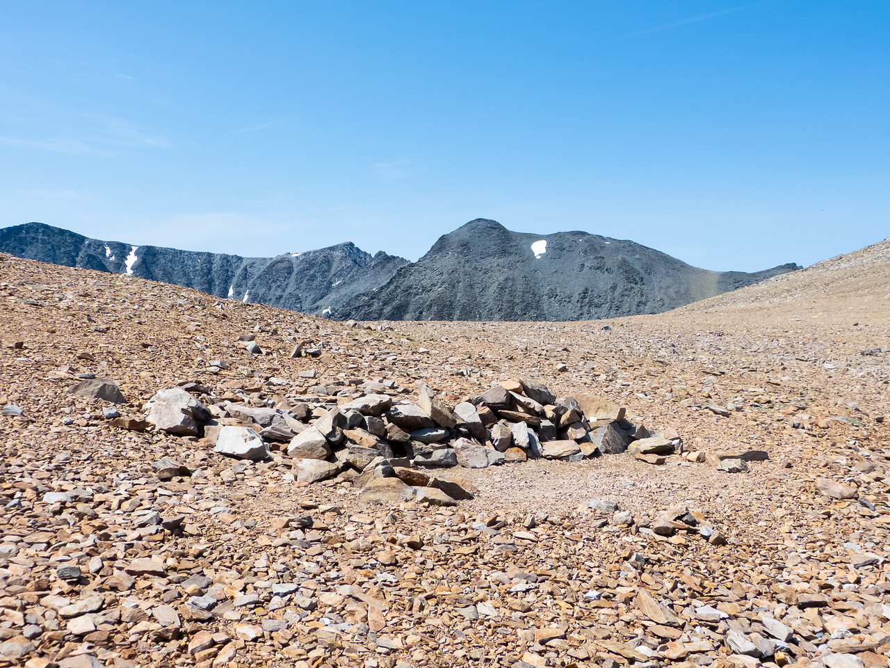 Koip Peak Pass is a barren place, but somebody had a dry camp up here.