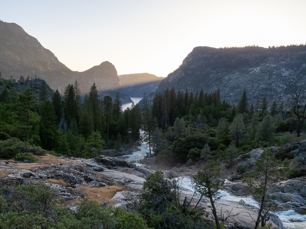 Looking down to Hetch Hetchy from the top of the upper Rancheria Falls.