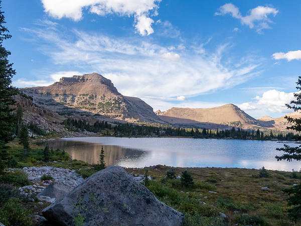 Evening now.  Rosalie Lake feels much more alpine than the meadows and trees only 500' lower.