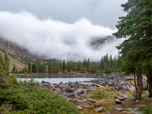 "Then the clouds just began to evaporate.  Looking over Jean Lake toward the Dean Lake and ""The Corner""."