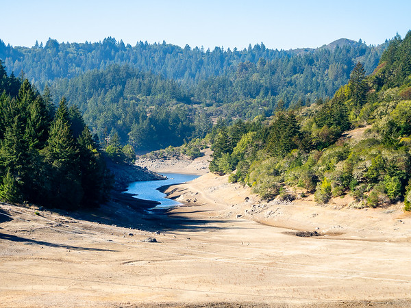 January 19, 2014. North Side of Mt. Tamalpias from the Bon Tempe Dam.  Lake Alpine is low, although there's more water closer to the dam.  Rainfall has been minimal this fall and winter.  Lots of haze in the air.