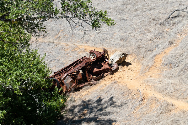 "This wrecked relic has been on the Coastal Trail since I first hiked here in the 80's ... and was old then.  I've seen it referred to as Mt. Tam's ""Ghost Car"" -- looks more like a truck to me -- but nobody seems to have details.  I'd love to know the story."