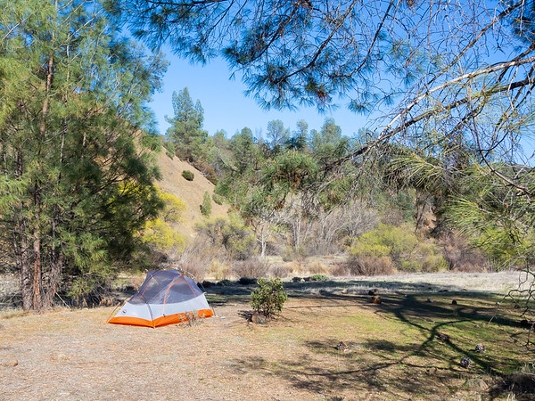 Camp was just south of Rocky Creek a few hundred feet back from Cache Creek.  First pitch of the new tent.