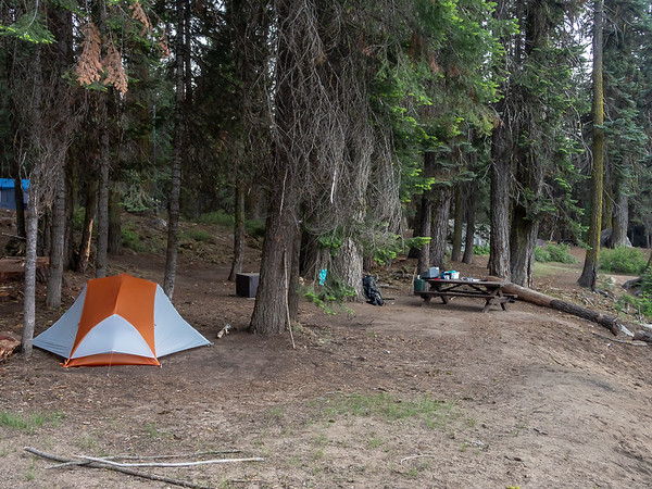 My campsite (#12) at the Forest Service's Stony Creek Campground as dusk sets in.