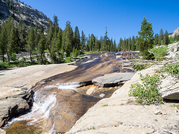 Roaring River on granite as I climb out of that first meadow.