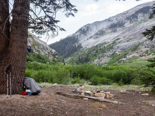 Sunday, July 6, evening.  Camp near Lone Pine Creek, looking down the valley.   Tomorrow's hike will go over the lower portions of the ridge to the right.