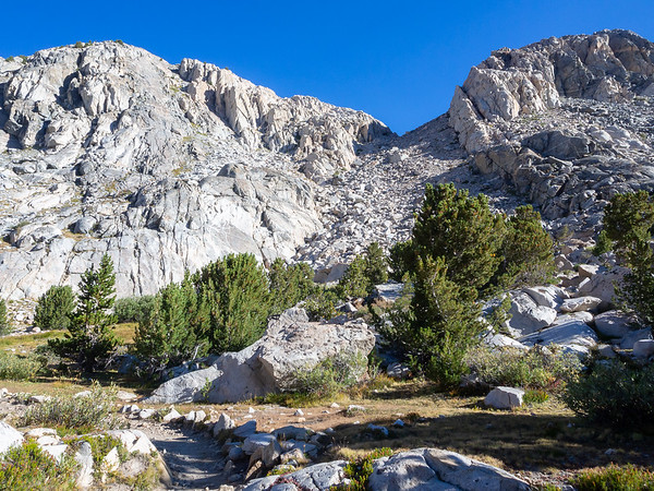 Sunday, September 7. Behind camp was this chute leading to a 12.000+ elevation section of the Humphreys Basin that drains east.