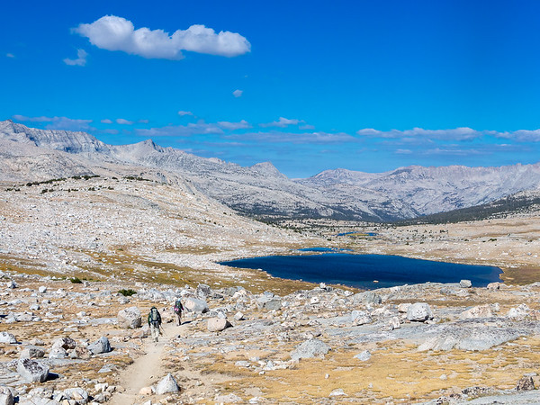 The view west from Piute Pass.  Summit Lake in the foreground.