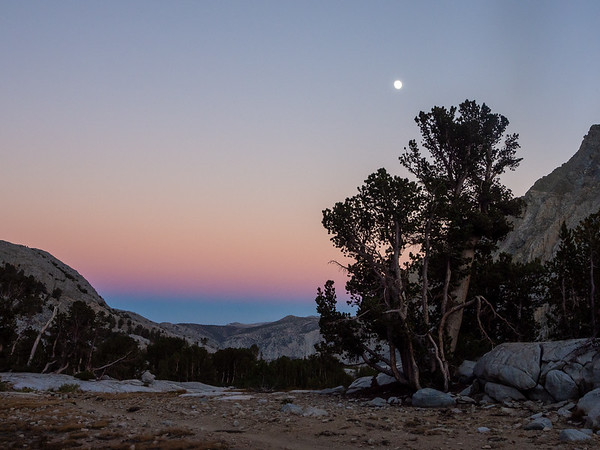 Interesting colors at dusk over the Owens Valley, plus an almost full moon above.