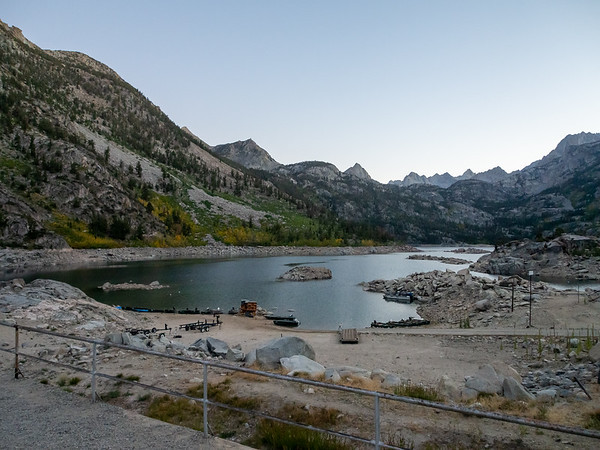 We walked up to the Lake Sabrina dam as the sun set.  The lake was way down.