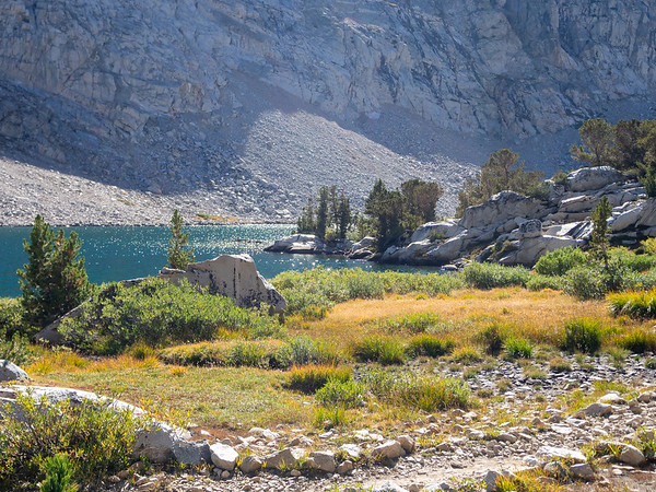 We made camp at Piute Lake.  An into-the-sun view from near camp.