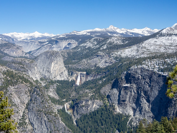 Vernal and Nevada Falls from Glacier Point.  Mt. Florence is the high point at the left.  Mt. Clark at the right.