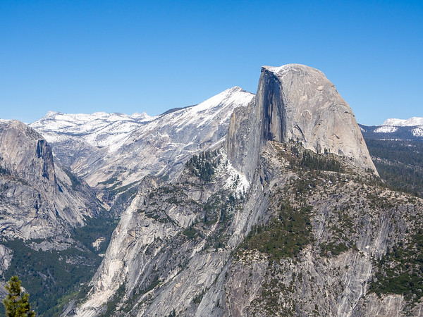 Glacier Point has a less side-on view of Half Dome.   To its left: Cloud's Rest, Tenaya Canyon, and at the far left, Mt. Watkins.