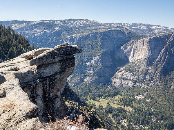 The famous Overhanging Rock at Glacier Point, plus a long view to Yosemite Falls.  Cook's Meadow below.