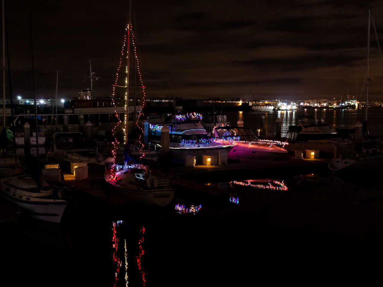 Jack London Square, December 8 --  And the lighted boats.
