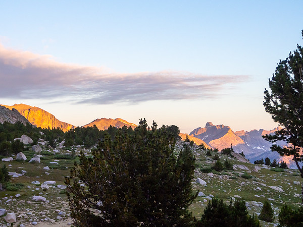 Sunday, August 17.  Morning light on the continental divide west of Little Valentine Lake.