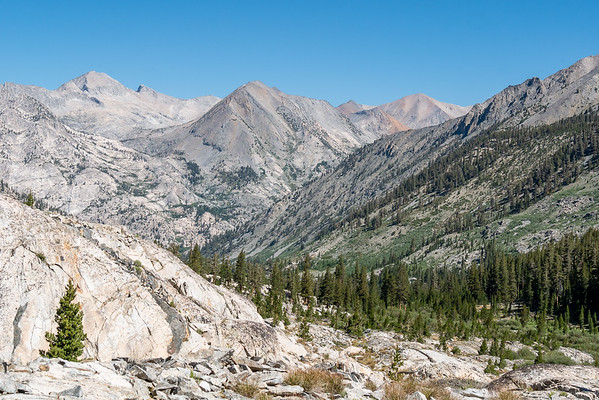 Heading down the South Fork of Woods Creek, now on the John Muir Trail.  More of that beautiful slate ahead.