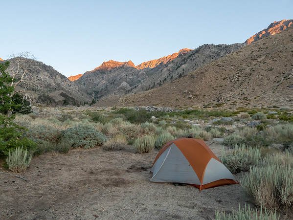 Tuesday, July 14.  I arose in time to see the first rays of the sun on the Sierra crest to the west.