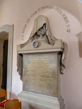 "The gravestone next to the crypt.  Haydn: ""Chori Musici Praefectus Celeberrimus""."