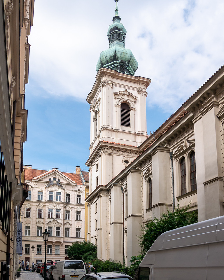 The Church of the Holy Savior is tucked into the side streets a block from the Old Town Square.