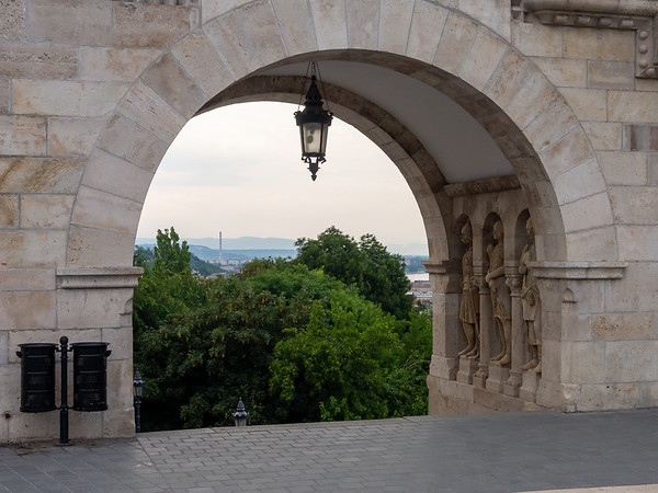 The portal to the steps from the drop off area and the Castle Hill plaza by Matthias Church and Fisherman's Bastion.