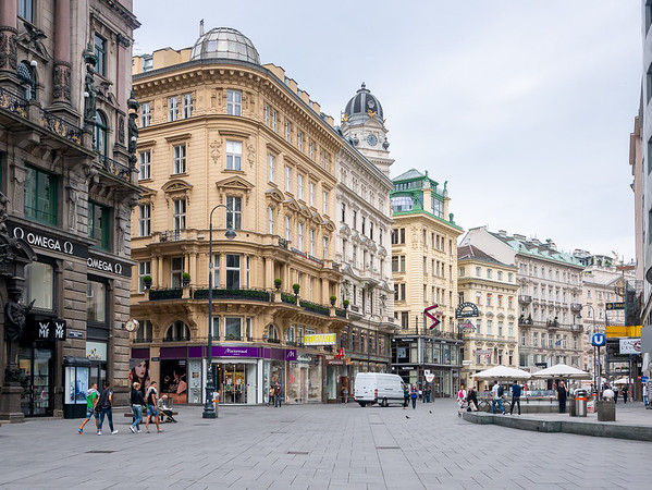 Graben.  It's empty now and still visually complex.  It will be jammed with people -- even chaotic -- after our rehearsal.