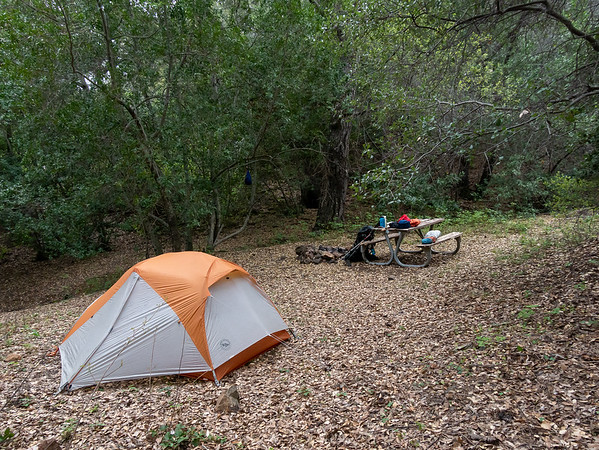 I made camp on a bench above and to the right of the sign, under the bay and oak trees.  This site has a table and the sounds of running water.