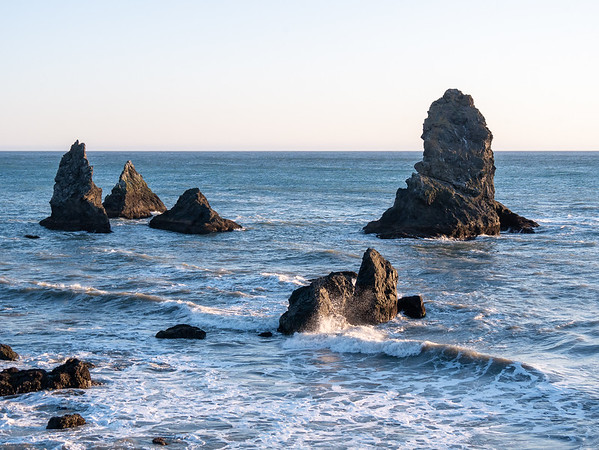 Just a little north from the beach are these rocks, here viewed from up on that hill.