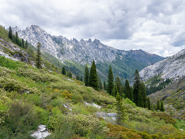 Almost to the lake now, with a fine full view down-canyon with the aptly-named Sawtooth Ridge above.