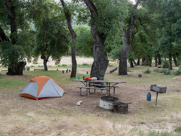 Escondido Camp is an ordinary drive-in forest service campground, even if the drive in is a slow one.  I was happy to see the 2008 fires spared the oaks here.  Still, it seems an odd spot for a backpacker to land after a three mile walk.