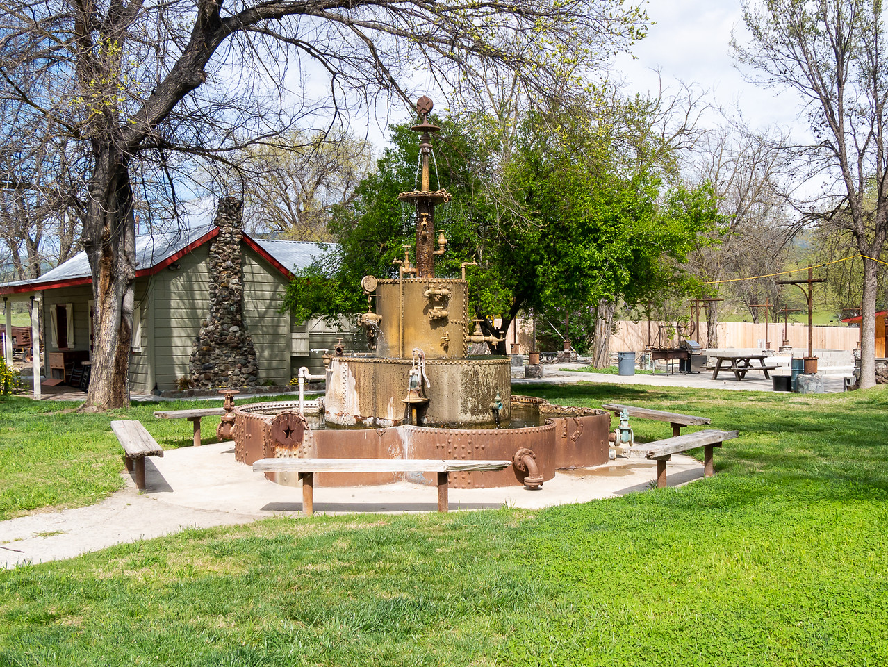 """Across the street from the cafe, next to the associated motel, is a park with this thing.  The sign by the star says """"Parkfield Water Company""""."""