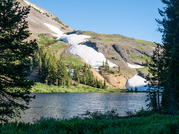 An evening stroll: upper Highland Lake and the flank of Hiram Peak.  Still some patches of snow here at 8500'.