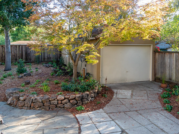 "From the near the back door, the Maple Bed with it's excellent stone wall, plus parts of the bluestone patio and the ""urbanite"" walkway."