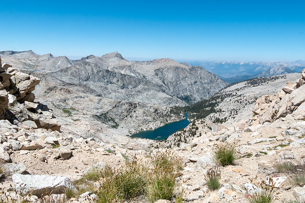 Wednesday, August 10 (about 1:30 PM).  The view north from Colby Pass with Colby Lake not quite 1,500 feet below.  The peaks at the left are on Glacier Ridge, the divide between Cloud and Deadman Canyons.  Time to head down.