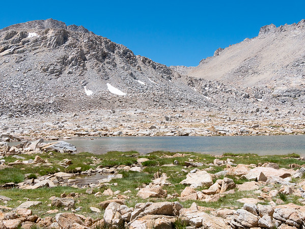 I stopped at Pond 12,500 at the bottom of the pass.  That's Caltech Peak at the left.  I'll see it from the other side tomorrow.
