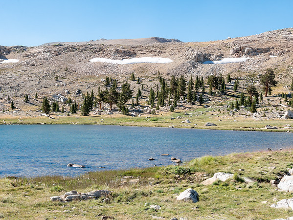 The tarn at 10,400'.  Rather barren up here, but there are a few trees on the other side.