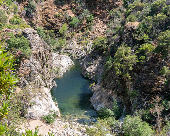 Below, the Arroyo Seco Gorge.  More often Arroyo Seco was just a running stream, but this rock-lined pool was really nice.