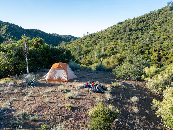Friday, May 13.  Camp above Upper Bee in the morning light.