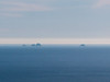 More interesting for me were these, the North Farallons.  I'm not sure I've seen them before.  If so, certainly never so clearly.  They are closer to Pt. Reyes than my usual Farallons viewing points on Mt. Tam above Stinson Beach.  And it was a clear day out there.