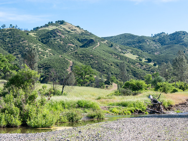 My route started with about 1-1/2 miles along Coyote Creek.  Ahead, my climb up Bear Mountain.