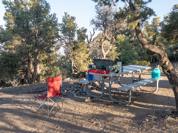 My campsite at the Mahogany Flat Campground.  The tent is to the left, inside a little grove of pinyons.  Quite a drive to get here: the last two miles were high clearance / 4WD road,  steep enough to be approach my car's limits.